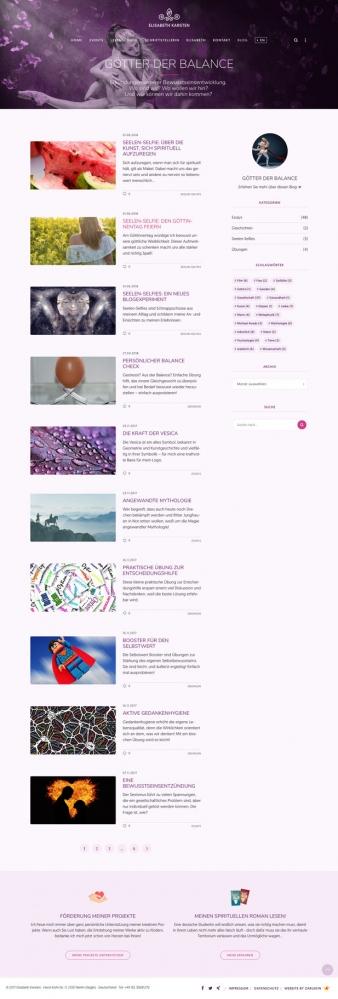 Screenshot des Blogs 'Götter der Balance' auf www.elisabeth-karsten.com
