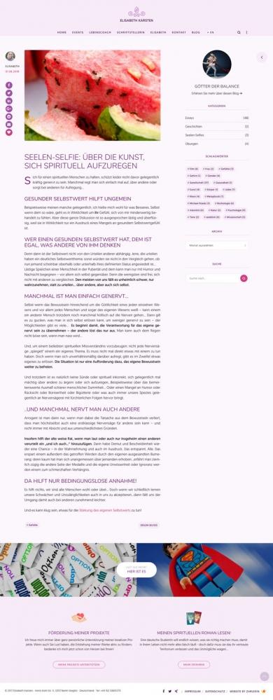 Screenshot eines Blogbeitrages auf www.elisabeth-karsten.com