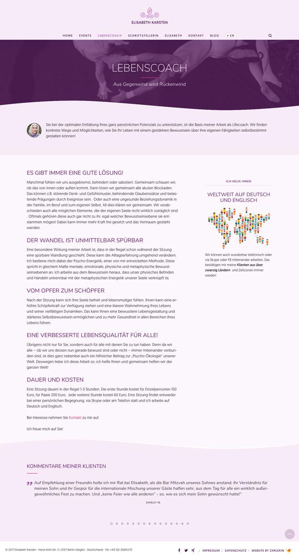 Screenshot der Seite 'Coaching' auf www.elisabeth-karsten.de