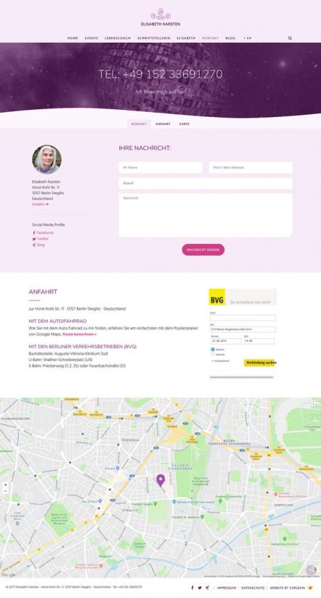 Screenshot der Kontakt-Seite auf www.elisabeth-karsten.com