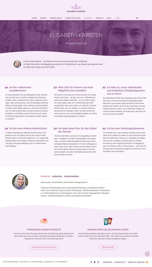 Screenshot der Seite 'Über mich' auf www.elisabeth-karsten.com
