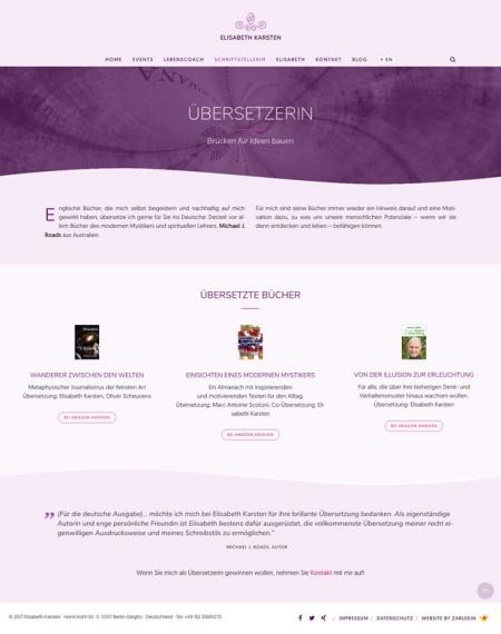 Screenshot der Seite 'Übersetzerin' auf www.elisabeth-karsten.com