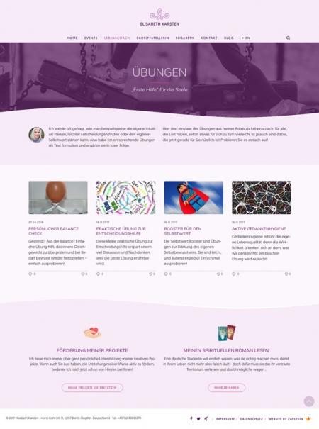Screenshot der Seite 'Übungen' auf www.elisabeth-karsten.com