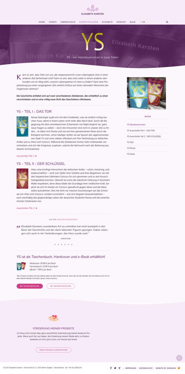 Screenshot der Seite 'YS' auf www.elisabeth-karsten.com