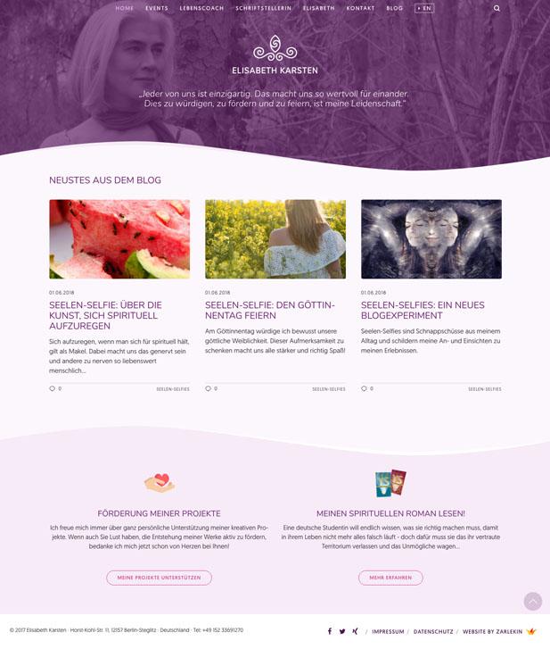 Screenshot der Startseite www.elisabeth-karsten.com