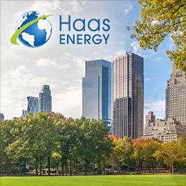 Collage zeigt Winfried Haas, Logo Haas ENERGY; im Hintergrund ein Stadtbild