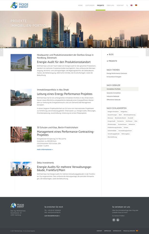 Screenshot des Immobilien-Portfolios auf www.haas-energy.com