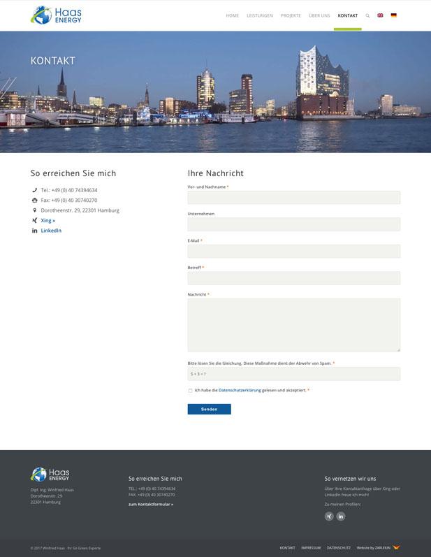 Screenshot der Kontakt-Seite auf www.haas-energy.com