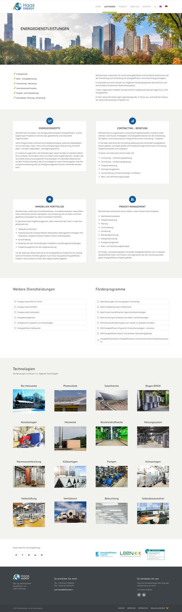 Screenshot der Seite 'Leistungen' auf www.haas-energy.com