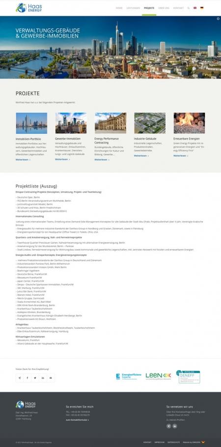 Screenshot der Seite 'Projekte' auf www.haas-energy.com