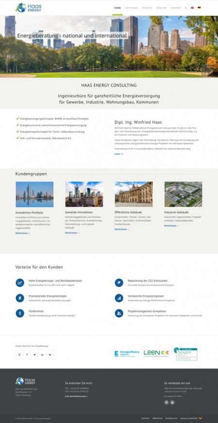 Screenshot der Startseite auf www.haas-energy.com