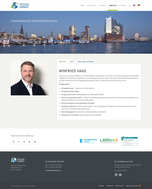 Screenshot der Seite 'Über mich' auf www.haas-energy.com