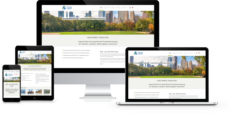 Darstellung der Website www.haas-energy.com auf verschiedenen Ausgabegeräten
